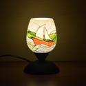 Szelek szárnyán, vitorlás a Balatonon, kézzel festett asztali üveglámpa, hangulatfény, Otthon, lakberendezés, Lámpa, Asztali lámpa, Hangulatlámpa, Üvegművészet, Festett tárgyak, Egy barátnőm kérésére készítettem el ezt az egyedi alkotást. Férjének rendelte, aki a Balaton és a ..., Meska