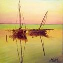 A két hajó - olajfestmény, Képzőművészet, Festmény, Olajfestmény, Olaj, vászon 40x40 cm, keret nélkül  A fotókon a keretek virtuálisak  Ha tetszik a stílus, aho..., Meska