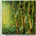 Bambusz erdő, Képzőművészet, Festmény, Olajfestmény, Olaj, vászon, 40x40 cm ,keret nélkül  Az oldala is festett, keretezés nélkül is kihelyezhető ..., Meska