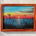 Tóparti naplemente, Képzőművészet, Festmény, Olajfestmény, Olaj, kasírozott vászon, kerettel  , Meska
