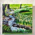 Tavaszi patak - olajfestmény, Képzőművészet, Festmény, Olajfestmény, Olaj, vászon, 40x40 cm, keret nélkül  Ha tetszik a stílus, ahogyan festek, és valamilyen egyedi..., Meska