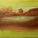 Fák a tónál 18x24 akrilfestmény, Képzőművészet, Festmény, Akril, 18x24cm-es absztrakt akrilfestmény feszített vászon alapon, keret nélkül.     , Meska