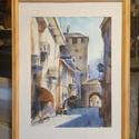 Olasz utcácska eredeti akvarell festmény, Képzőművészet, Festmény, Akvarell, 32x24cm-es eredeti akvarellfestmény akvarellpapíron, keret nélkül.     , Meska