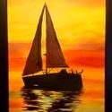 Vitorlás naplementében2, Képzőművészet, Festmény, Akril, Akril, vászon, A4-es, keret nélkül Egy sima vászon lapon van a festmény, ami nincsen fa kereten, így..., Meska
