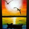 Halász sirályokkal, Képzőművészet, Festmény, Akril, Akril, vászon, A4-es, keret nélkül Egy sima vászon lapon van a festmény, ami nincsen fa kereten, így..., Meska