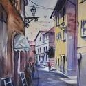 Via Italia - eredeti akvarell festmény, Képzőművészet, Festmény, Akvarell, Festészet, 26x38cm-es eredeti akvarellfestmény  művész akvarellpapíron, keret nélkül.     , Meska