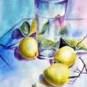 Citromok- eredeti akvarell festmény, Képzőművészet, Festmény, Akvarell, 24x32cm-es eredeti akvarellfestmény művész akvarellpapíron, keret nélkül.     , Meska
