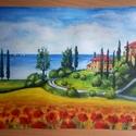 Boldog nyári nap Toszkánában - eredeti akvarell festmény, Képzőművészet, Festmény, Akvarell, Festészet, 20,8 x 28cm-es eredeti akvarellfestmény művész akvarellpapíron, keret nélkül.     , Meska