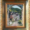 Házikók napsütésben - eredeti olajfestmény, Képzőművészet, Festmény, Olajfestmény, 18x24 cm, olaj, vászon, kerettel  , Meska