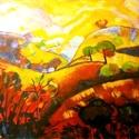 Dimbek-dombok, Képzőművészet, Festmény, Olajfestmény, Olaj, farost 40x40 cm, keret nélkül , Meska