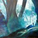 Misztikus erdő - eredeti akrilfestmény, Képzőművészet, Festmény, Olajfestmény, Olaj, akril, vászon, 40x40 cm, keret nélkül    , Meska