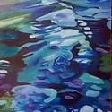 Kék patak - eredeti olajfestmény, Képzőművészet, Festmény, Olajfestmény, Olaj, akril, farost, 20x40 cm, keret nélkül    , Meska