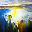 Jégzajlás, Képzőművészet, Festmény, Olajfestmény, Akril, farost 40x40 cm, keret nélkül , Meska