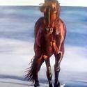 Tengerparton sétáló ló, Képzőművészet, Festmény, Olajfestmény, Olaj, vászon, 50x70 cm, keret nélkül    , Meska