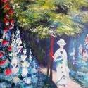 Monet kertjében, Képzőművészet, Festmény, Akril, Akril, farost 30x40 cm, keret nélkül, Meska