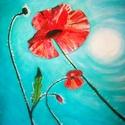 Hot summer poppies, Képzőművészet, Festmény, Olajfestmény, Olaj, vászon, 43x58 cm Keret nélkül    , Meska