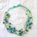 Kék és zöld hosszú nyaklánc, Ékszer, Nyaklánc, Kékek és zöldek árnyalataiban pompázik ez a  gyöngyös nyaklánc. Többféleképpen is hordható. ..., Meska