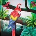 Papagájok - akril festmény, Képzőművészet, Festmény, Akril, Festészet, 58 x 58 cm méretű feszített vászonra készült akril festmény. Keretezést nem igényel, azonnal a falr..., Meska