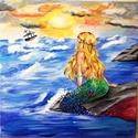 Sellő - akril festmény, Képzőművészet, Festmény, Akril, 40 x 40 cm méretű feszített vászonra készült akril festmény. Keretezést nem igényel., Meska