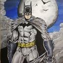 Batman festmény , Képzőművészet, Festmény, Akril, 30x40 cm feszített vászonra készült akril festmény. Keretezést nem igényel.  , Meska