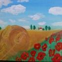 Búzatábla pipacsokkal, Képzőművészet, Festmény, Akril, Akril festmény 18x24cm méretű kartonvászonra festett.Vidám világos színekkel igazi nyári han..., Meska