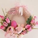 Tavasz rózsaszínben/kopogtató, Az alapot szövött szalaggal vontam be,tetejére ...