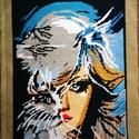Goblein, Otthon & Lakás, Dekoráció, Kép & Falikép, Hímzés, Női arcot ábrázoló, hímzett, keret nélküli goblein.  Mérete: 33cm * 25 cm. , Meska