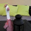 Márton-napi liba, Dekoráció, Ünnepi dekoráció, Márton-napi liba 30 cm magas bordó virágos lakás dekoráció, Meska
