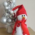 Hóember, Dekoráció, Ünnepi dekoráció, Karácsonyi, adventi apróságok, Karácsonyi dekoráció, Lakás dekoráció 21 cm, Meska