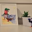 Krokodilos falikép, Dekoráció, Képzőművészet, Kép, Festmény, Fotó, grafika, rajz, illusztráció, Festészet, Kézzel festett festményemből készült reprodukció, kreatívpapírra nyomtatva. A4-es méretű, mely képk..., Meska