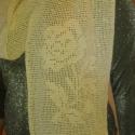 Rózsás stóla, Ruha, divat, cipő, Kendő, sál, sapka, kesztyű, Kendő, Vanília színű vékony pamut horgolófonalból horgoltam ezt a stólát.  Mérete 21 X 160 cm, a r..., Meska
