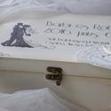 Esküvői  ajándék doboz, nagy, Esküvő, Nászajándék, Festett tárgyak, Egyedi feliratozású, kézzel festett, antik hatású díszdoboz, mely kiváló esküvőre ajándékozott pénz..., Meska