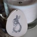 Húsvéti mintás tojás alakú dekoráció, kicsi, Dekoráció, Otthon, lakberendezés, Dísz, Festett tárgyak, Festett, fa húsvéti tojáslap dekoráció, melyet a visszafogott, pasztell színvilága és vintage mintá..., Meska