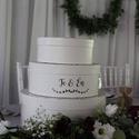 Esküvői boríték gyűjtő doboz, 3 emeletes, Dekoráció, Esküvő, Esküvői dekoráció, Elegáns, festett boríték gyűjtő doboz , melyben a menyasszonyi torta formája köszön vissza. ..., Meska
