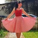 Piros kockás Rockabilly szoknya, körszoknya, Táska, Divat & Szépség, Ruha, divat, Női ruha, Szoknya, Varrás, Pirods fehér kockás rockabilly, pinup szoknya. 100% pamut. Alsószoknya nélkül. Elérhető xs-3xl mére..., Meska