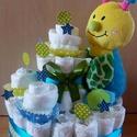 2 szintes pelenkatorta, Baba-mama-gyerek, Dekoráció, Esküvő, Baba-mama kellék, 40 db pelusból (4-9 kg) készült torta., Meska