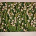 Gyöngyvirágos hímzett kép, Otthon, lakberendezés, Falikép, Hímzés, Apró részletezettséggel kidolgozott, keresztszemes öltéssel készült gyöngyvirágos hímzett kép fehér..., Meska