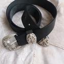 Veretes díszítésű fekete öv különleges csattal, Ruha, divat, cipő, Öv, Kiváló minőségű 4 mm vastag 4 cm széles feketemarhabőr öv, dekoratív csattal.  , Meska