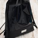 Fekete hologramos tornazsák, Táska, Hátizsák, Varrás, Különlegesen színjátszós, fekete hologramos vastag anyag a táska előoldala, amit fekete textilbőrre..., Meska
