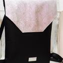 Fekete ezüst hátizsák, Táska, Hátizsák, Varrás, Szolid elegancia csodaszép ezüstösen csillogó fedélrésszel! A fekete textilbőr anyagot különleges, ..., Meska