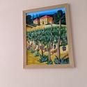 Toszkán szőlő, Művészet, Festmény, Akril, Festészet, Toszkán szőlő ültetvény 40*50 cm farost. Jó minőségű akril festékkel dolgozom. Szeretem a jól pigme..., Meska
