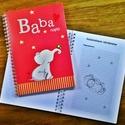 elefántos babanapló, Baba-mama-gyerek, Naptár, képeslap, album, Jegyzetfüzet, napló, Egyedi készítésű, vidám mintás babanapló, babaváró könyvecske, ajándéknak is tökéletes választás!  A..., Meska