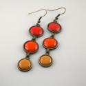 Sweet October - narancs-vörös-okker lógós tűzzománc fülbevaló, Az őszi színek meleg vöröseit és sárgáit id...