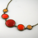 Sweet October - narancs-vörös-okker tűzzománc nyaklánc, Ékszer, Nyaklánc, Az őszi színek meleg vöröseit és sárgáit idézi ez a három kör alakú elemből álló tűzz..., Meska