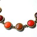 Burnt Orange tűzzománc nyaklánc vöröses narancsos színekben - mini, Ékszer, Nyaklánc, Égetett narancs színekben készült ez a nyaklánc, aminek minden eleme más színű: sötétbarna..., Meska