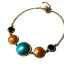 Baltic Amber - borostyán színű tűzzománc nyaklánc , Ékszer, Gyűrű, Nagyon szeretem a tengert és a borostyánt. Ennek a nyakláncnak a színeiről az északi országok..., Meska