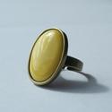 Citromsárga ovális tűzzománc gyűrű, Ékszer, óra, Gyűrű, Ékszerkészítés, Tűzzománc, Ha szereted a különleges gyűrűket, tetszeni fog ez az ovális citromsárga (kanárisárga) tűzzománc kö..., Meska