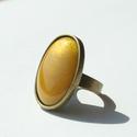 Charteuse ovális tűzzománc gyűrű, Ékszer, óra, Gyűrű, Ékszerkészítés, Tűzzománc, Ha szereted a különleges gyűrűket, tetszeni fog ez az ovális charteuse színű tűzzománc köves gyűrű...., Meska