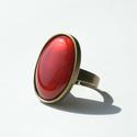 Rozé ovális tűzzománc gyűrű, Ékszer, óra, Gyűrű, Ékszerkészítés, Tűzzománc, Ha szereted a különleges gyűrűket, tetszeni fog ez az ovális tűzzománc köves gyűrű, aminek a színe ..., Meska