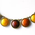 Golden Brown - tűzzománc nyaklánc arany, borostyán, barnás színekben, Ékszer, Nyaklánc, Aranybarnás őszi színekben készült ez a nyaklánc, aminek majdnem mindegyik eleme más színű:..., Meska